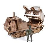 Sunny Days Entertainment US Army M270A1 Multi Launch Rocket System – Vehicle Playset with Action Figure | Military Toy Missile Launcher Set for Kids – Elite Force, Multicolor