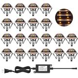 CHNXU LED Deck Step Lights Kit, 20 Pack IP65 Waterproof Landscape Lighting with Transformer, Recessed 12V Low Voltage Outdoor Decoration Wall Lamps for Stairs Patio Garden Yard (Warm White, Bronze)