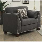 """Darby Home Co Dunsmuir 34"""" Wide Tufted Linen Side Chair Linen/Linen Blend in Black/Brown, Size 35.0 H x 34.0 W x 31.0 D in 