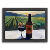 Americanflat ''Napa Valley Wine Bottle and Glass'' Framed Wall Art, Multicolor, Medium