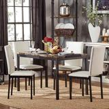 HomeVance Catania Dining Table & Faux-Leather Dining Chair 5-piece Set, White