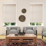 """Custom Cut To Order Cordless 64-in. Faux Wood Blinds, White, 21"""" Wide"""
