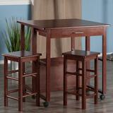Winsome Fremont Space Saver Bar Table & Counter Stool 3-piece Set, Brown