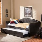 Baxton Studio London Faux-Leather Arched Twin Daybed & Trundle, Brown