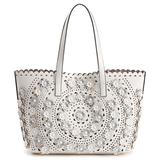 Mellow World Paloma Perforated Floral Tote, Blue
