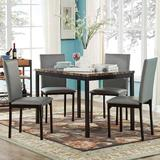 HomeVance Catania Dining Table & Faux-Leather Dining Chair 5-piece Set, Grey