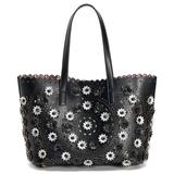 Mellow World Paloma Perforated Floral Tote, Natural