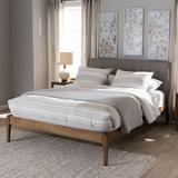Baxton Studio Clifford Mid-Century Upholstered Bed, Grey, Full