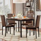HomeVance Catania Dining Table & Faux-Leather Dining Chair 5-piece Set, Brown