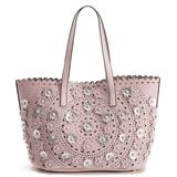 Mellow World Paloma Perforated Floral Tote, Dark Green