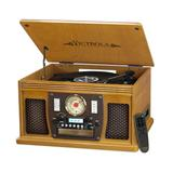 Victrola Navigator 8-in-1 Classic Bluetooth Record Player with USB Encoding & 3-speed Turntable, Brown