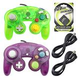 AreMe 2 Packs Game Cube Controllers with 2 Extension Cables and 128mb Memory Card for Wii Gamecube GC Console(Clear Purple+Moss Green)