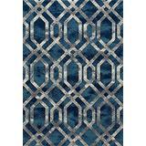 Art Carpet Bastille Collection Fretwork Border Woven Area Rug, 4' x 6', Blue/Gray