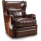 Hooker Furniture Wellington Leather Swivel Club Chair in Brown