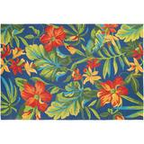 Couristan Covington Tropical Orchid Floral Indoor Outdoor Rug, Blue, 8Ft Rnd