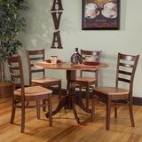 International Concepts Round Dual Drop Leaf Table & Ladderback Dining Chair 5-piece Set, Brown