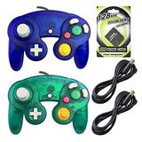 AreMe 2 Packs Game Cube Controllers with 2 Extension Cables and 128mb Memory Card for Wii Gamecube GC Console (Clear Blue+Deep Green)