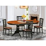 August Grove® Pilcher Butterfly Leaf Rubberwood Solid Wood Dining Set Wood/Upholstered Chairs in Black/Brown | Wayfair