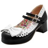 Latasa Women's Cute Lolita Cosplay Bow Floral Mid Chunky Heel Mary Jane Pumps Shoes (7.5, Black)