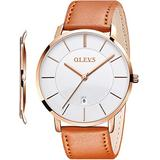 OLEVS Men's Watch Brown Leather Band Watches for Men Male Dress Ultra Thin Minimalist Big Face Waterproof Slim Simple Casual White Large Dial Analog Quartz Date Wrist Watch Retro Classic Gifts