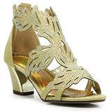 Enzo Romeo Lime03N Womens Open Toe Mid Heel Wedding Rhinestone Gladiator Sandal Wedge Shoes (5, Gold)
