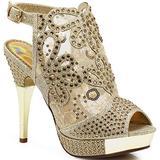 Enzo Romeo Angie15 Womens Open Toe High Heel Wedding Rhinestone Mesh Sling Back Sandal Wedge Shoes (7.5, Gold)