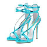 FSJ Women Sexy Strappy Sandals for Wedding Open Toe Metallic High Heels Pumps Shoes Size 5 Light-Blue