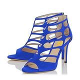 FSJ Women Caged Dress Sandals Chic Peep Toe Pumps Shoes Cutout Strappy High Heels Size 13 Royal-Blue