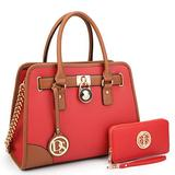 DS COLLECTION Multi Pockets Satchel for Women, Large Designer Lady Purses Laptop Tablet Tote Work Briefcase (6892W Red)