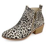 Journee Collection Womens Side Zip Stacked Heel Booties Leopard, 7.5 Regular US