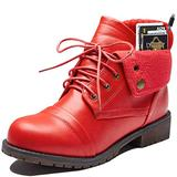 DailyShoes Boot Flats Ankle Ankle Pocket Boot Combat Boots Lace Up Flat Shoes Side Zip Short Booties Soft Sole Money Wallet Tina-99 Red Pu 12