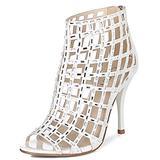Littleboutique Women Embellished Cutout High Heel Bootie Rhinestone Sandal Heels Dress Sandals White 7