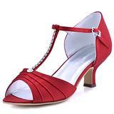 ElegantPark EL-035 Red Sandals for Women Peep Toe Wedding Shoes for Bride T-Strap Bridal Shoes Mid Heel Pumps Rhinestones Satin Evening Dress Wedding Sandals US 10