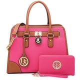 Multi Pockets Satchel for Women Designer Lady Handbags and Purses Wallets Tote Work Briefcase (1-Fuchsia)