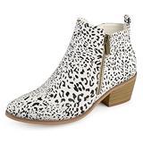 Journee Collection Womens Side Zip Stacked Heel Booties Animal, 12 Regular US