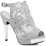 Enzo Romeo Angie15 Womens Open Toe High Heel Wedding Rhinestone Mesh Sling Back Sandal Wedge Shoes (7, Silver)