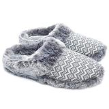 ofoot Womens Comfortable House Bedroom Slippers Soft Knit Fleece Fur Lined Non Slip Rubber Sole Indoor Outdoor White/Gray