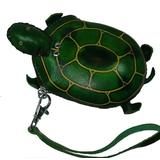 Handmade Real Leather Coin Purse W/wristlet Strap, a Turtle Pattern,zip Closure. A Unique Leather Craft Item (Green)