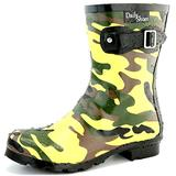 DailyShoes Women's Rain Boot Waterproof Ankle Short Buckles Shoes Autumn Winter Mid Calf Buckle High Hunter Round Toe Rainboots Island-03 Camouflage 11