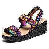 EnllerviiD SNT0075duocaise40 Women Open Toe Woven Slingback Sandals Summer Mary Jane Platform Wedges Shoes Blue 8.5B(M) US