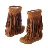 Inornever Suede Fringe Moccasin Boots Mid Calf Women's Round Toe Flat Heel Ladies Winter Fashion Snow Booties Yellow 8 B (M) US