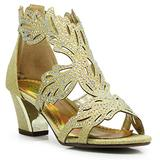 Enzo Romeo Lime03N Womens Open Toe Mid Heel Wedding Rhinestone Gladiator Sandal Wedge Shoes (8, Gold)