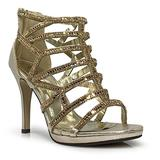 Enzo Romeo lingerie02 Womens Open Toe High Heel Wedding Rhinestone Rear Zipper Open Toe Sandal Wedge Shoes (6, Gold)