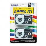 """Casio XR-18WEB2S, 1/2""""(18mm) Labelling Tape, Blue on White, Pack of 2"""