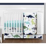 Sweet Jojo Designs Mod Dinosaur 4 Piece Crib Bedding SetPolyester in Blue/Gray | Wayfair ModDino-BU-GR-Crib-4