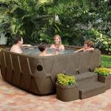 AquaRest Spas, powered by Jacuzzi® pumps 500 5-Person 29-Jet Square Plug & Play Hot Tub Ozonator Plastic in Brown, Size 32.0 H x 79.0 W x 79.0 D in