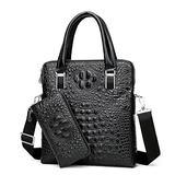 Genuine Leather Vertical Briefcase Alligator Print Business Shoulder Bag for Men with Zipper Clutch Wallet Black