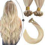 Ugeat Pre Bonded U Tip Human Hair Extensions 18 Inch Hair Extensions Fusion Human Hair 50strands Pre Bonded Keratin Human Hair Extensions Balayage Blonde #18/22/60