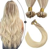 Ugeat U Tip Real Human Hair Extensions 20 Inch Pre Bonded U Tip Human Hair Extensions 50strands Hair Extensions Fusion Human Hair Balayage Blonde #18/22/60 Keratin Hair Fusion Hair Extensions