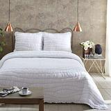 VHC Brands Aurora Solid Color Voile Cotton Farmhouse Bedding Pre-Washed Ruched Ruffle King Quilt, Marshmallow White
